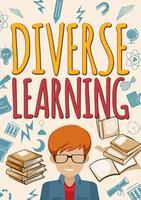 Affiche d'apprentissage diversifiée avec élève et livres vecteur