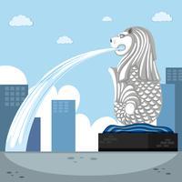 Fond de point de repère avec fontaine de merlion