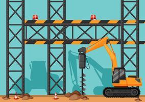Chantier de construction avec trou de forage vecteur