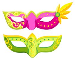 Masques de fête aux couleurs roses et verts vecteur