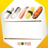 Modèle de bordure avec des rouleaux de sushi vecteur