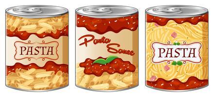Trois boîtes de pâtes et de sauce vecteur