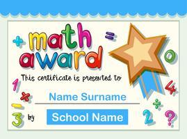 Modèle de certificat pour le prix en mathématiques avec étoile d'or