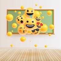 Différents smileys réalistes devant un tableau vert, illustration vectorielle