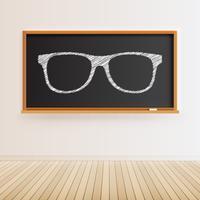 Tableau noir détaillé élevé avec plancher en bois et lunettes dessinées, illustration vectorielle