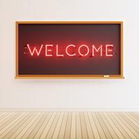 Signe de mot néon sur un tableau réaliste, illustration vectorielle