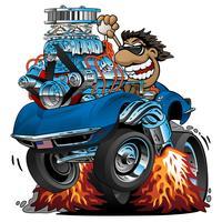 Caricature de voiture de sport classique, pilote drôle, illustration vectorielle isolé