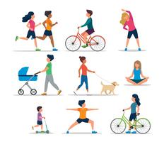 Personnes faisant diverses activités de plein air, isolées. Courir, faire du vélo, du scooter, promener le chien, faire de l'exercice, méditer, marcher avec un landau. Illustration vectorielle de mode de vie sain.