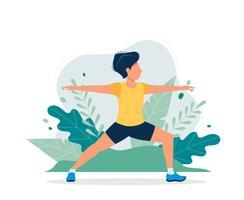 Homme heureux exerçant dans le parc. Illustration vectorielle dans le style plat, illustration de la notion de mode de vie sain, sport, exercice.