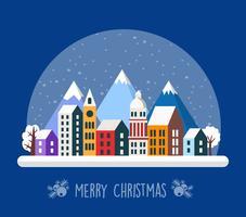 Village urbain de Noël décoré