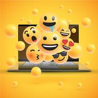 Différents smileys réalistes devant un cahier, illustration vectorielle
