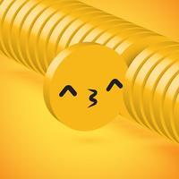 Émoticône de disque 3D détaillée jaune haute sélectionnée, illustration vectorielle vecteur