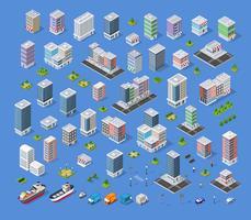 Éléments de conception de paysage urbain avec bâtiment isométrique vecteur