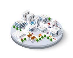 ville isométrique avec des gratte-ciels vecteur