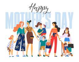 Bonne fête des mères. Femme et enfant