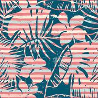 Modèle exotique sans soudure avec des plantes tropicales et fond de rayures. vecteur