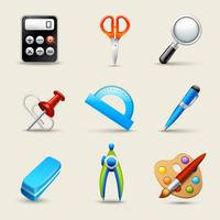 Set d'icônes école réaliste