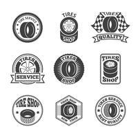 Pneus étiquette jeu d'icônes vecteur