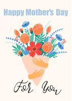 Bonne fête des mères. Femmes et fleurs vecteur