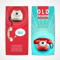 Anciennes bannières téléphoniques verticales vecteur