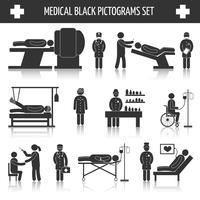 Ensemble de pictogrammes noir médical