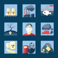Ensemble d'icônes de la pollution