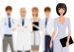 Médecin avec le personnel médical vecteur