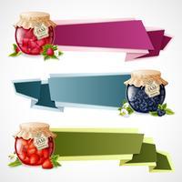 Ensemble de bannières origami confiture vecteur