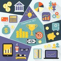Ensemble plat d'icônes financières vecteur