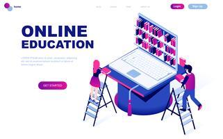 Concept isométrique de design plat moderne de l'éducation en ligne vecteur