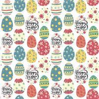 modèle sans couture de joyeux jour de Pâques oeufs colorés mignon vecteur