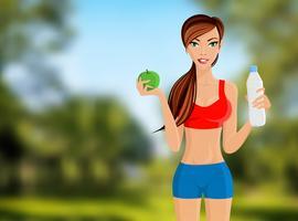 Portrait de fille fitness vecteur