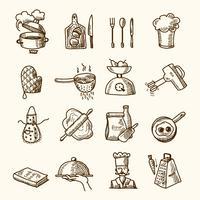 Croquis d'icônes de cuisine vecteur