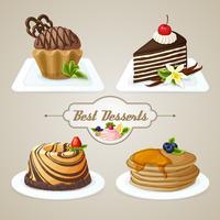Set de desserts sucrés vecteur
