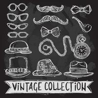 Ensemble chapeaux et lunettes vintage vecteur