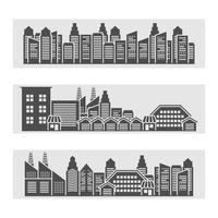 Bannière d'icônes de paysage urbain