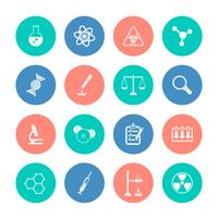 Icônes de chimie sur les cercles de couleur