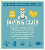 Affiche du club de plongée vecteur