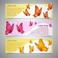 Ensemble de bannières de papillons vecteur