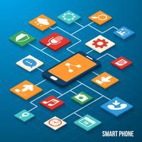 Icônes isométriques d'applications mobiles vecteur