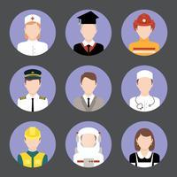 Métiers avatar plat ensemble d'icônes vecteur