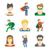 Icône de super-héros plate vecteur