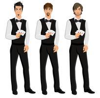 Ensemble de portrait homme casino dealer vecteur