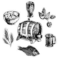 Jeu d'icônes de bière vecteur