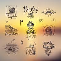 Ensemble d'emblèmes hipster vecteur