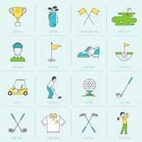 ligne plate d'icônes de golf vecteur