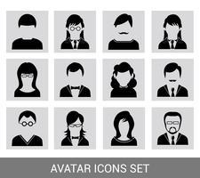 Jeu d'icônes avatar noir vecteur