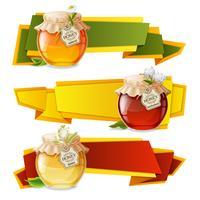 Bannières origami au miel vecteur