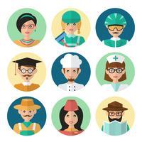 visages icônes d'avatar vecteur