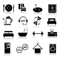 Icônes d'hôtel définies en noir vecteur